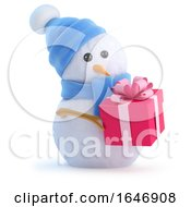 3d Snowman Has A Christmas Gift by Steve Young