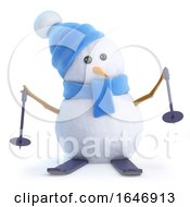 3d Snowman On Skis by Steve Young