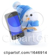 3d Snowman Chats On His Smartphone by Steve Young