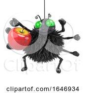 3d Spider Eats An Apple