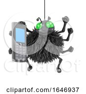 3d Spider Chats On A Mobile Phone