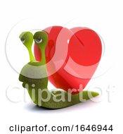Poster, Art Print Of 3d Snail Has A Heart