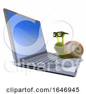 3d Snail Works On His Laptop