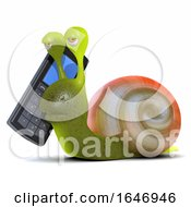 3d Snail With Mobile Phone