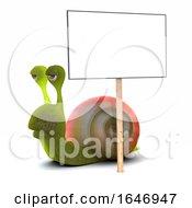 3d Snail With A Placard