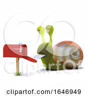 Poster, Art Print Of 3d Snail Gets Mail