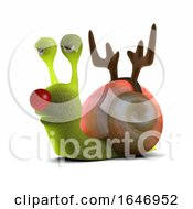 3d Snail Dressed As A Reindeer With A Red Nose by Steve Young