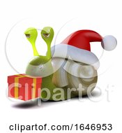 3d Snail Dressed As Santa Carrying A Christmas Gift by Steve Young