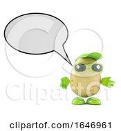 3d Potato Character With Speech Balloon