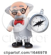 3d Mad Scientist Character Holding A Magnetic Compass