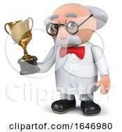 3d Mad Scientist Holding A Gold Cup Trophy Award