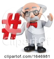 3d Mad Scientist Holding A Hash Tag Hashtag Symbol