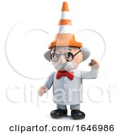 3d Mad Scientist With A Traffic Cone On His Head