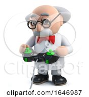 3d Mad Scientist Playing A Video Game With A Joystick Controller