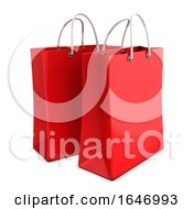 3d Two Red Shopping Bags