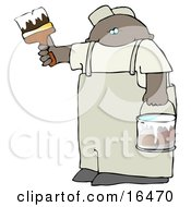 African American Man Holding A Bucket Of White Paint And Using A Paintbrush To Paint A Wall