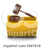 3d Auction Gavel Folder Symbol Icon