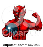 Devil Bowling Sports Mascot Holding Ball by AtStockIllustration