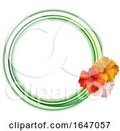 Copy Space Green And White Circular Border With Trio Of Hibiscus
