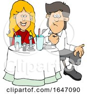 Cartoon Couple On A Date At A Restaurant
