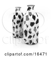 Two Milk Containers With A Black And White Cow Pattern