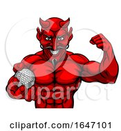 Devil Golf Sports Mascot Holding Ball by AtStockIllustration
