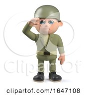 3d Army Soldier Character Salutes With Honour