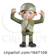 3d Army Soldier Cheering With Arms In The Air by Steve Young