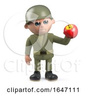 3d Army Soldier Character Holding An Apple