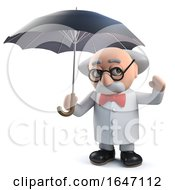 3d Mad Scientist Character Standing Under An Umbrella