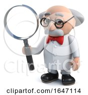 3d Mad Scientist Character Holding A Magnifying Glass