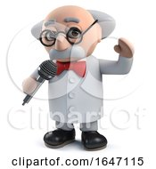 3d Mad Scientist Character Singing Into A Microphone