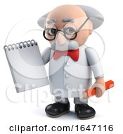 3d Mad Scientist Character Holding A Notepad And Pencil by Steve Young