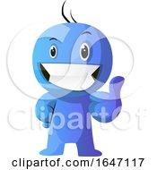Poster, Art Print Of Blue Cartoon Man Giving A Thumb Up