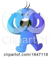 Poster, Art Print Of Scared Blue Cartoon Man