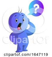 Poster, Art Print Of Confused Or Worried Blue Cartoon Man