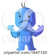 Shrugging Confused Blue Cartoon Man by Morphart Creations