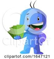 Poster, Art Print Of Blue Cartoon Man Holding Green Cards