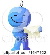 Poster, Art Print Of Blue Cartoon Man Holding An Envelope