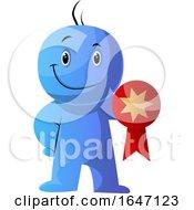 Poster, Art Print Of Blue Cartoon Man Holding A Medal