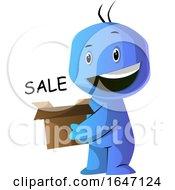 Poster, Art Print Of Blue Cartoon Man Holding A Sale Box