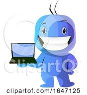 Poster, Art Print Of Blue Cartoon Man Holding A Laptop
