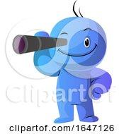Poster, Art Print Of Blue Cartoon Man Looking Through A Monocular