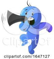 Poster, Art Print Of Blue Cartoon Man Shouting Through A Megaphone