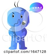 Poster, Art Print Of Confused Thinking Blue Cartoon Man