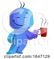 Poster, Art Print Of Happy Blue Cartoon Man Boss Holding A Coffee Cup