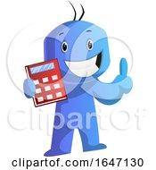 Poster, Art Print Of Blue Cartoon Man Holding A Calculator