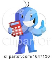Blue Cartoon Man Holding A Calculator by Morphart Creations