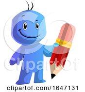 Blue Cartoon Man Holding A Giant Pencil
