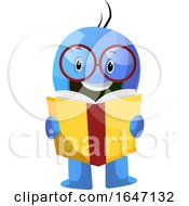 Blue Cartoon Man Reading A Book by Morphart Creations